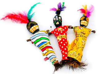 Voodoo dolls made from wood, paint and feathers, from New Orleans, Louisana