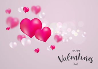 Valentine's day, banner template. Pink and White heart with lettering, isolated on background. Heart tags poster design. Vector
