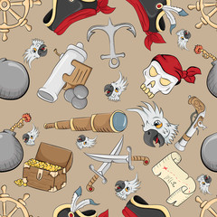 seamless pattern on the theme of pirate symbols brown background