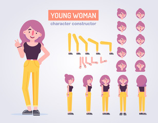 Happy ypung womanl character with various views, face emotions, poses . Front, side, back view animated character. Vector clip art