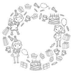 Happy birthday vector design Birthday hat Party and celebration. Kindergarten children, school kids party. Vector illustration.
