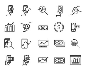 Simple collection of online money related line icons.
