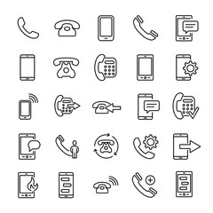 Set of premium phone icons in line style.