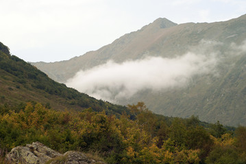 The view from the covered with autumn trees and bushes slope of the mountain above the clouds to the opposite slope of the gorge in the atmospheric haze with a creeping cloud..
