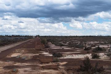 Strassenschaden einer Landstrasse durch Hochwasser / Regenzeit im Outback von West-Australien