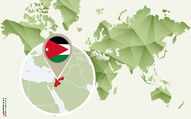 Infographic for Jordan, detailed map of Jordan with flag.