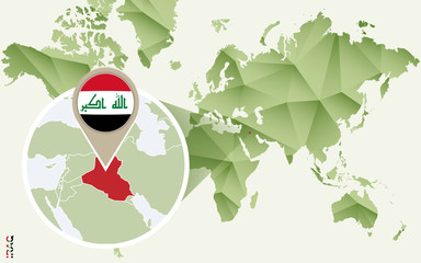 Infographic for Iraq, detailed map of Iraq with flag.