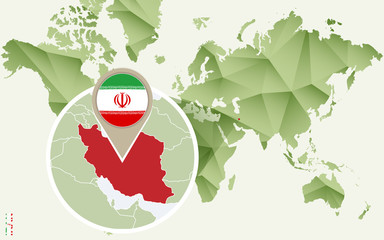 Infographic for Iran, detailed map of Iran with flag.