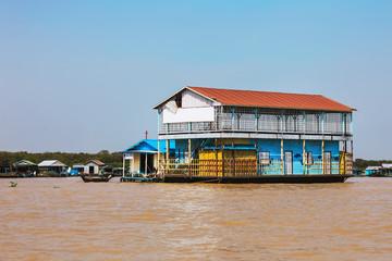 Homes on stilts on the floating village of Kampong Phluk, Tonle Sap lake, Siem Reap province, Cambodia