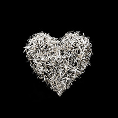 Heart shape decoration from paper art on black color background.Love concepts.