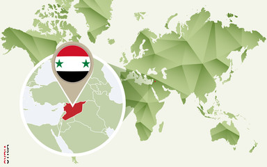 Infographic for Syria, detailed map of Syria with flag.