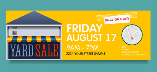 Printable banner template for garage or yard sale event. vector