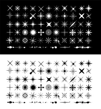 Big set of premium star sparkle and glitter brush. Brush Tips. Isolated on black and white background. Vector illustration