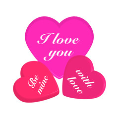 3d hearts on white background.