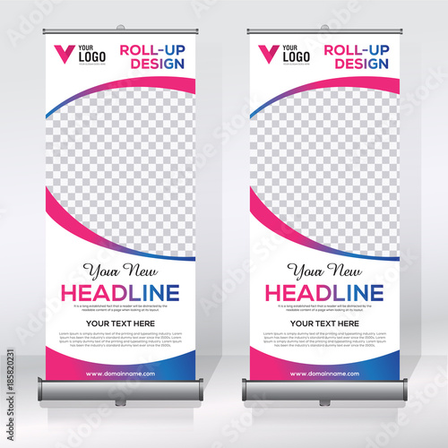 roll up banner design template stock image and royalty free vector