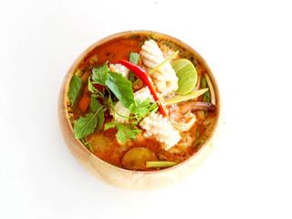 Tom yam kong soup on wihte back ground. Thai food.