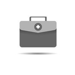 Vector of first aid kit icon isolated on white. Doctors bag with cross. Medical suitcase symbol.