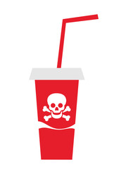 Drink in the red cup is dangerous to consumpt. Vector illustration.