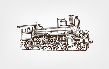 Old steam locomotive isolated on white background. Hand drawn illustration.