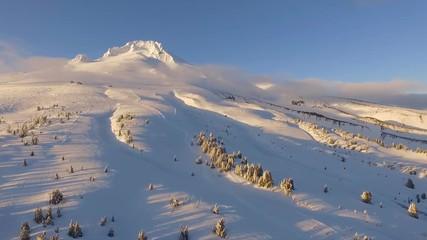 Wall Mural - Sunset Mount Hood Timberline Cascade Range Fresh Snow Aerial