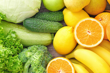 Delicious ripe fruits and vegetables, closeup