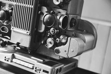 Vintage film projector, close-up photo