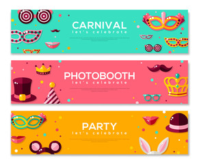 Set of Horizontal Banners with Carnival Masks