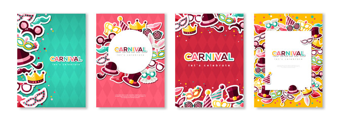 Carnival colorful posters set Fototapete