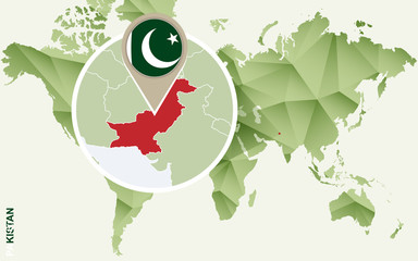 Infographic for Pakistan, detailed map of Pakistan with flag.
