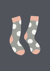 Dotted pair of socks. Naive winter illustration