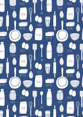 Kitchen pattern background. Cooking doodle illustrated pattern