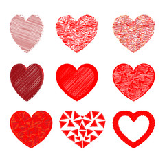 Heart set for Valentine days Red color