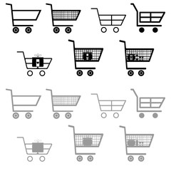Cart for shopping black and grey color