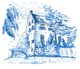 Historic house Tinnenburg on Muurhuizen (wall houses) street in old centre of Amersfoort, the Netherlands. Dutch traditional building on canal. Hand drawn blue ink sketch.