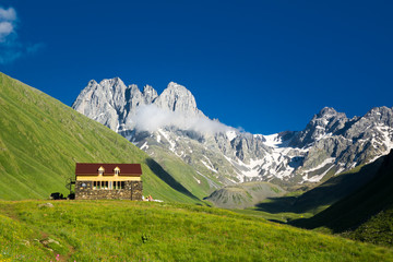 Mountain camp in the beautiful mountain valley of Chauchi