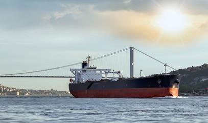 Cargo ship tanker in the Channel Bosphorus Strait international logistic sea, Istanbul, Turkey