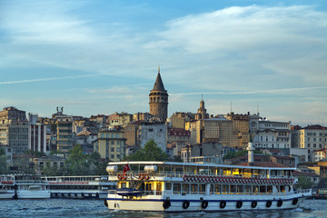 Passenger ferry ship on the Gulf Golden Horn, Sea front landscape of Istanbul historical part, Turkey famous city.