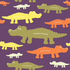 Cartoon cute crocodiles seamless vector pattern. Texture for wallpaper, fills, web page background.