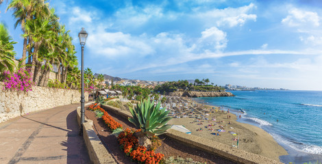 Wall Mural - View of El Duque beach at Costa Adeje. Tenerife, Canary Islands, Spain