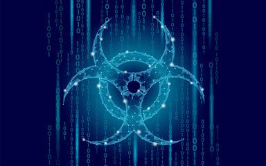 Computer web virus attack danger. Biohazard sign epidemia alert data information safety secure warning. Hacker quarantine pollution toxic concept triangle polygonal line blue vector illustration