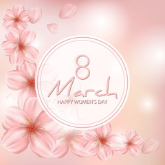8 March modern background design with japanese sakura, cherry flowers. Happy women's day stylish greeting card. Spring floral vector illustration