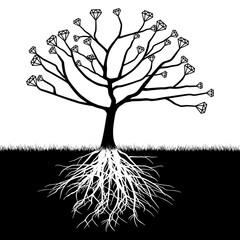 A tree with diamonds