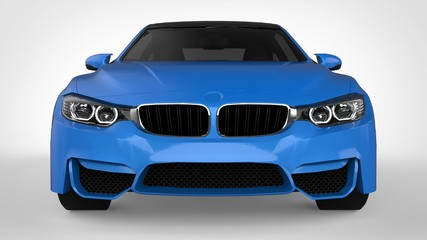 Blue Sports car. 3d rendering.