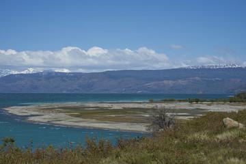 Poster Bleu Scenic landscape around Lago General Carrera in northern Patagonia, Chile