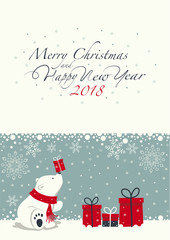 Depicts a seated little polar bear with gift box on the nose. The white Polar bear with the red scarf. Phrase merry Christmas and a happy New year ,numbers 2,0,1,8 on the white background.