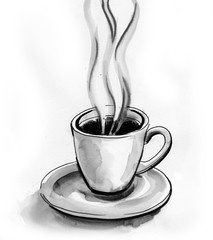 A cup of hot tea. Black and white ink illustration