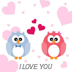 Greeting card flat style  two loving owls, happy birds.