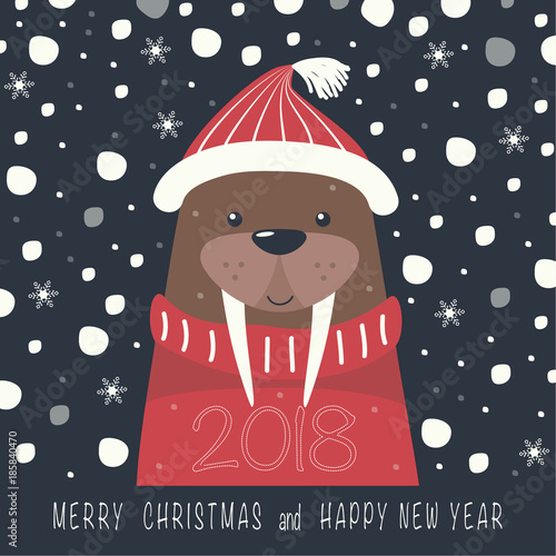d6093695c81a0 Depicts a walrus on a hat and red sweater. The phrase merry Christmas and a  happy New year and number 2
