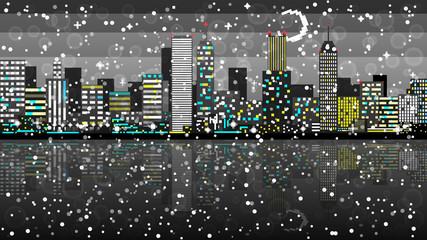 Snow Pixel art night city card. Vector illustration