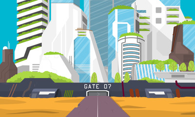 The city of the future is an oasis in the desert. Flat design. Vector illustration